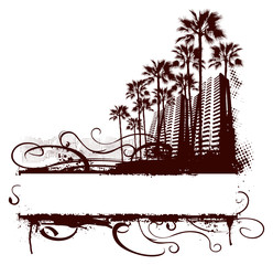 miami surf scene with grunge banner and palm background