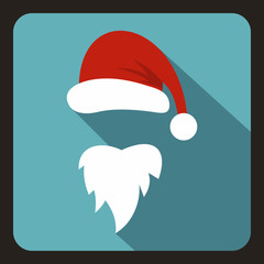 Red hat and long beard of Santa Claus icon in flat style with long shadow. New year symbol vector illustration