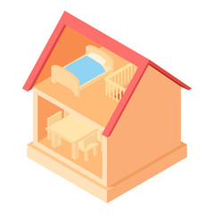 Toy house interior icon in cartoon style isolated on white background vector illustration