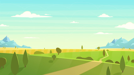 Poster Lichtblauw Natural landscape Cartoon vector illustration