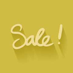 sale hand written in yellow color backdrop
