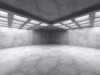 Concrete abstract architecture. Empty dark room interior