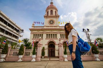 thai chinese adult beautiful girl travel old local City Church in bangkok