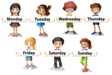 Kids holding cards saying days of the week