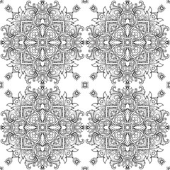 Seamless royal pattern. Outline hand drawn. Adult coloring book.