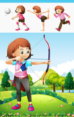 Girl doing archery and other sports