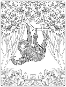 Coloring page with lovely sloth in forest.