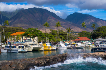 Lahaina Marina, West Maui Mountains