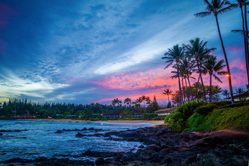 pink sunrise, napili bay, maui, hawaii