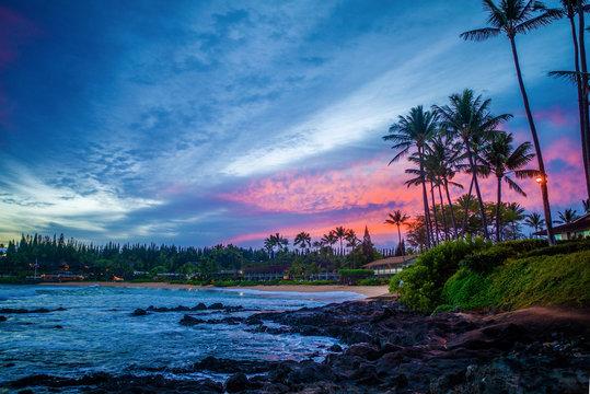 pink sunrise, napili bay, maui, hawaii