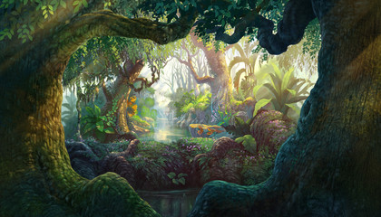 Fantasy inside forest background painting