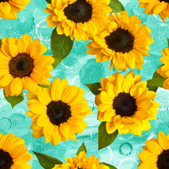 Retro seamless pattern with photo sunflowers on watercolor teal