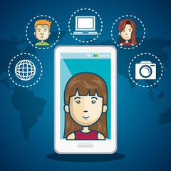 cartoon woman white smartphone connection web world graphic vector illustration eps 10