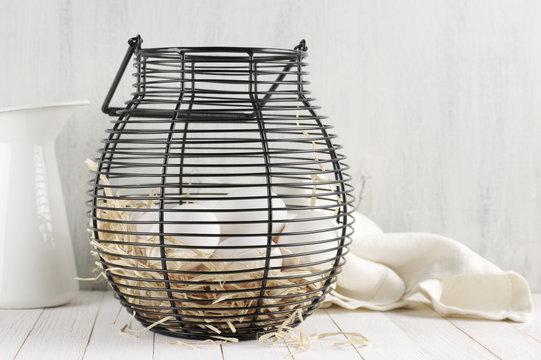 Eggs in wire basket