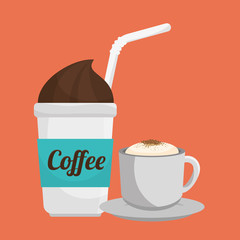 two cup coffee fresh and hot graphic vector illustration eps 10