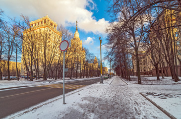 Wide angle view of tree alley near street crossing the campus of Moscow University