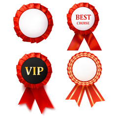 Red award ribbons badge with white background. Abstract object d