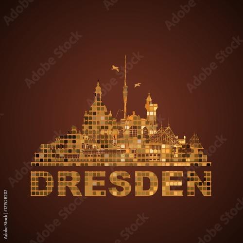 wandtattoo dresden deutschland skyline silhouette umriss semperoper zwinger frauenkirche. Black Bedroom Furniture Sets. Home Design Ideas