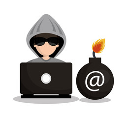 security system hacked mail design vector illustration eps 10