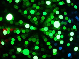 Green lights bokeh