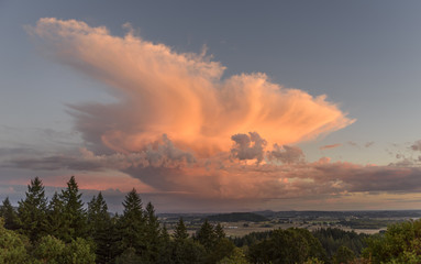 Orange Lit Thunderhead at Sunset in the Mid Willamette Valley