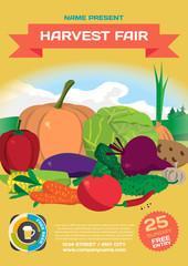 Fall harvest fair template poster. Autumn food festival. Vegetab