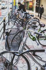 bicycle parking in Kyoto city, Japan.