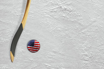 Hockey Stick and Puck American