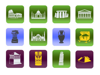 Set of symbols of world heritage in history and architecture