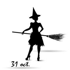 Witch in October happy halloween vector graphic illustration of a poster of white background witch hat broom inscription contour shadow