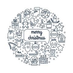 Illustration of symbols christmas items icon.