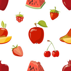 Red fruits seamless pattern over white background
