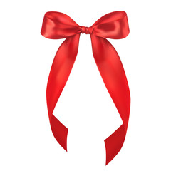 Realistic Isolated Red Bow. Decorative Design Element.