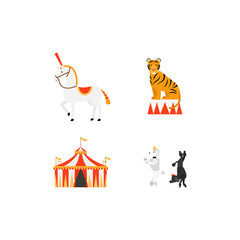 Circus vector flat icons set with tiger elephant dogs and tent