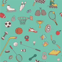 Hand-drawn doodle sport pattern. Seamless line art background with different repeated objects: balls, sneakers, flag, medals, tennis rackets etc. Colored equipment icons.