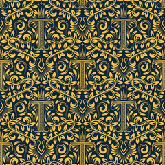 Damask seamless pattern repeating background. Golden blue floral ornament with T letter and crown in baroque style. Antique golden repeatable wallpaper.