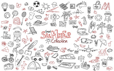 Hand drawn collection of the summer doodles. Line art set of the different objects.