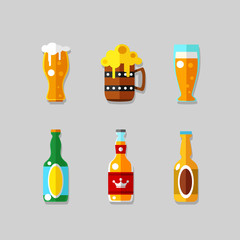 Drink flat icons. Alcohol and beer bottles
