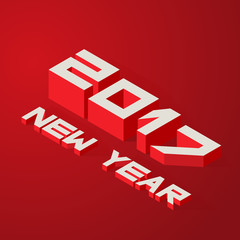 New Year 2017. Vector illustration in isometric style