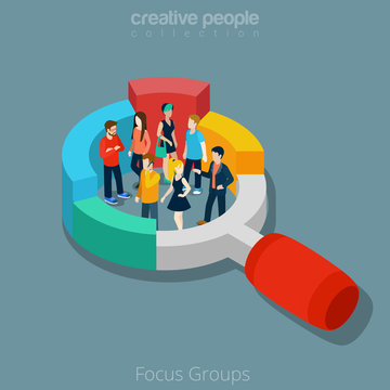 Flat isometric People vector illustration social focus group 3d