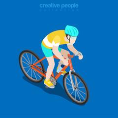 Flat isometric Racing Cyclist vector illustration Sportsman 3d