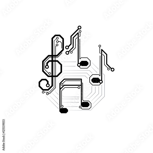 u0026quot vector electronic music sign  circuit board musical notes