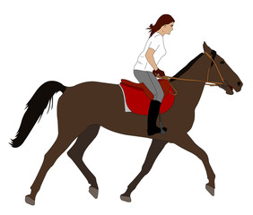woman riding horse - vector