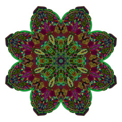 Abstract ethnic colored mandala ornamental pattern. Unique oriental style hand drawn design elements. templates for your designs