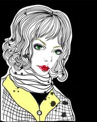 Portrait of beautiful girl on black background. Fashion illustration