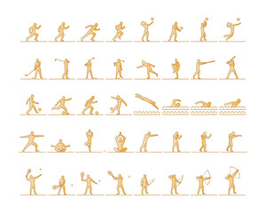 Vector set of sports figures athletes