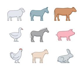 Line vector icon set farm animals