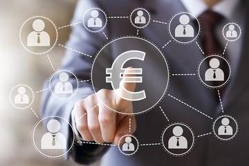 Businessman push button eur currency euro web