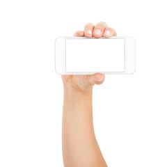 Female hand showing smartphone of white screen, front view, isolated.