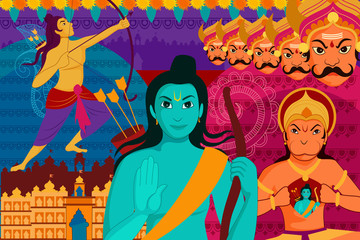 Happy Dussehra festival background forIndia holiday